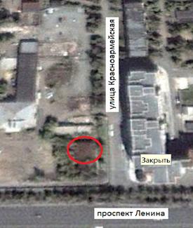 Местонахождение: Снимок со  спутника. Октябрь 2000 г. г. Челябинск, ул.                                                    Красноармейская, 168