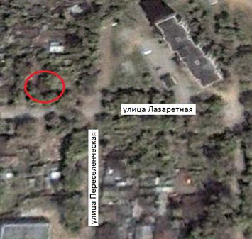 Местонахождение: Снимок со  спутника. Октябрь 2000 г.   ул. Лазаретная, 30, г. Челябинск