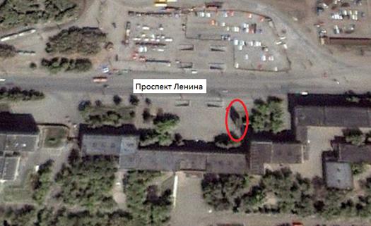 Местонахождение: Пр. Ленина, 1, г. Челябинск. Спутниковый снимок 6 октября 2000 года