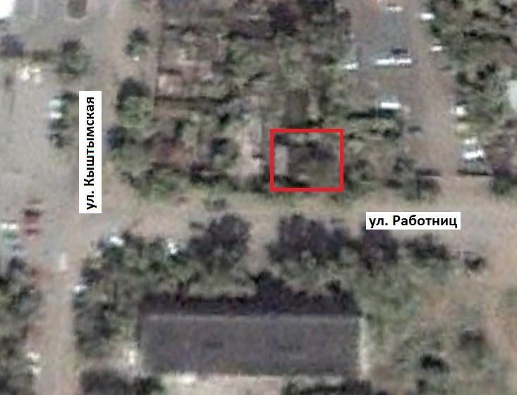 Место, где находился дом по адресу:г. Челябинск,  ул. Работниц, 76. Спутниковый снимок 6 октября 2000 г.