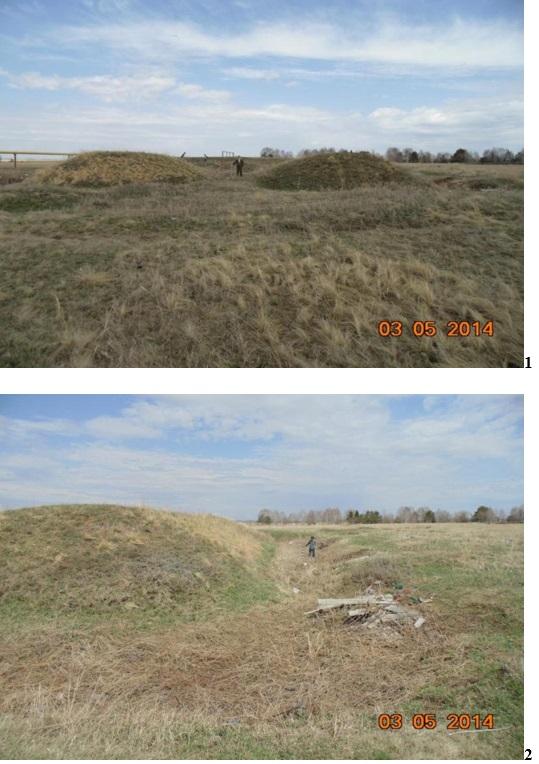 Фотофиксация объекта, имеющего признаки объекта культурного наследия, «редут Верхоуральский». 1 – вид со стороны входа (юго-западная стена);2 –юго-восточная стена и ров.