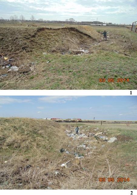 Фиксация разрушений памятника: 1- северный угол редута (произведена выемка грунта из вала); 2 – ров редута по всему периметру сильно замусорен