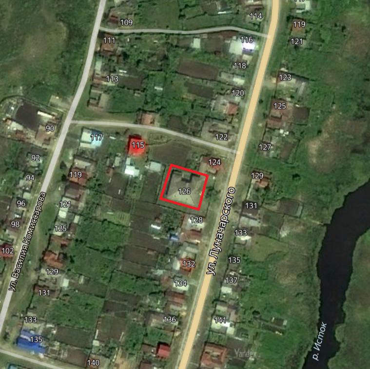 г. Касли, Луначарского   ул., 118 (на карте - 126)