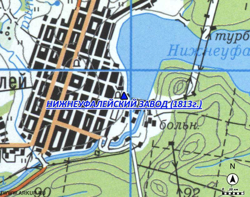 Местонахождение: п. Нижний Уфалей на карте 1980-х гг.