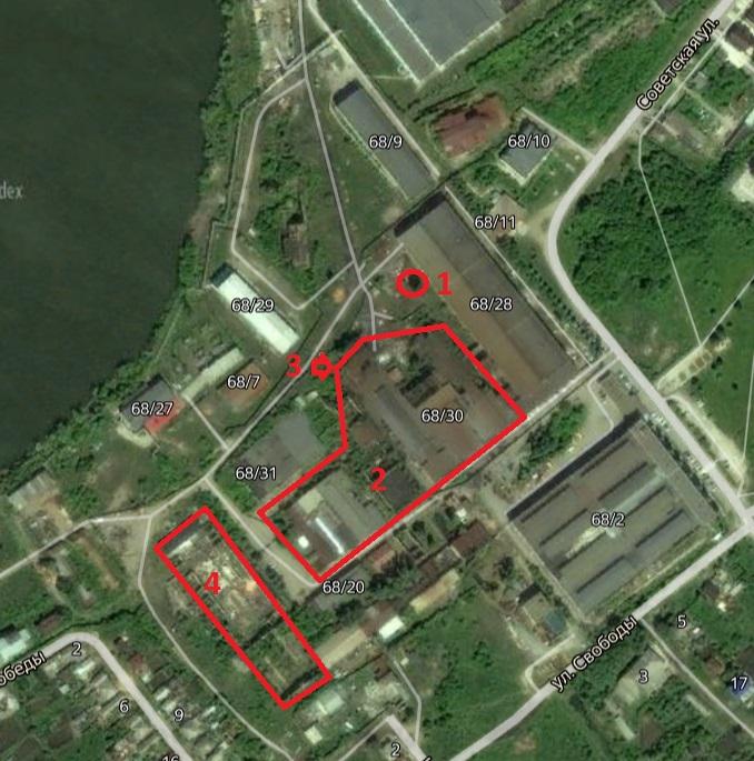 Местонахождение: г. Касли, ул. Советская, 68 (1 - водонапорная башня, 2 - комплекс старинных цехов, 3 3 - руины цеха, 4 -разрушенный цех 1925 года)