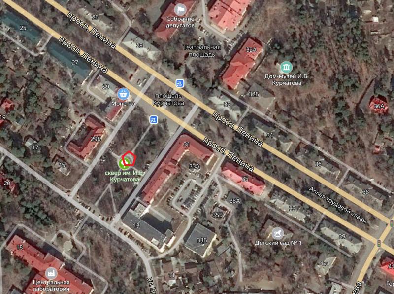 Местонахождение: г. Озерск, сквер имени И.В. Курчатова
