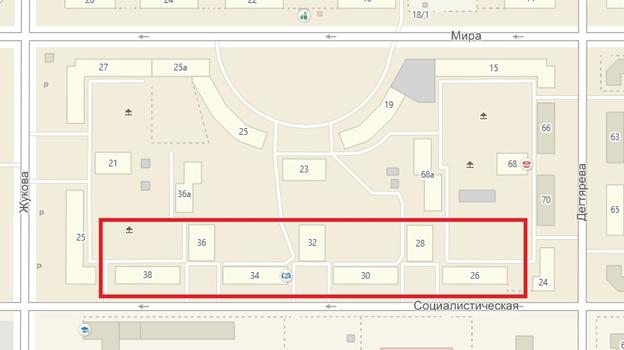 Местонахождение объекта: г. Челябинск, четная сторона ул. Социалистической между улицами Дегтярева и Жукова (дома №№ 26-38)