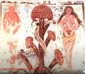 У древа (по)знания (фреска XII века церкви аббатства Плинкуро Франции). есть и другие аналогичные христианские фрески.