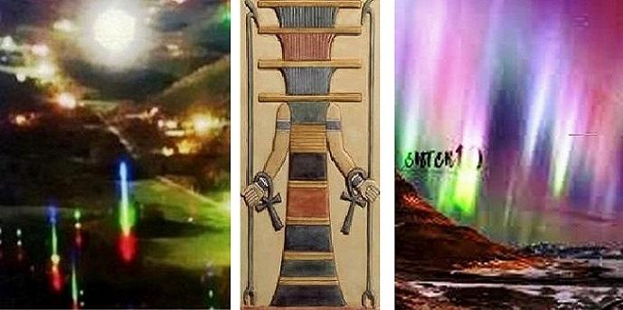 Слева столбы сияния на Земле.                В центре столб Осириса.           Справа столбы обычного п. сияния