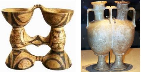 Слева биноклевидный сосуд Триполья    Справа сдвоенный сосуд Египта