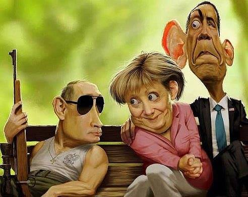 Путин Меркель Абама