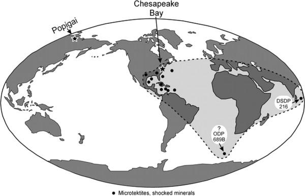 Следы столкновений 36 миллионов лет назад