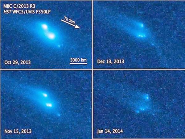 снимки Хаббла активного астериода P 2013 R3