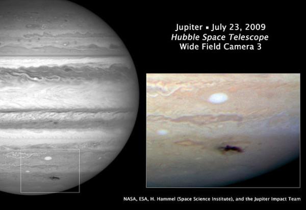 темное пятно на Юпитере, открытое любителями в 2009 году