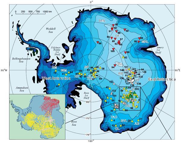 положение подледых озер в Антарктиде