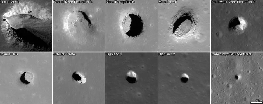 дополнительные примеры найденных лунных пещер