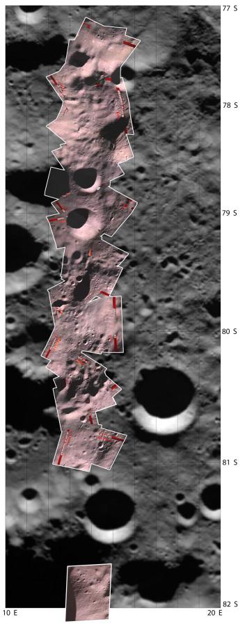 мозаика из снимков MIP наложенная на снимки Клементины