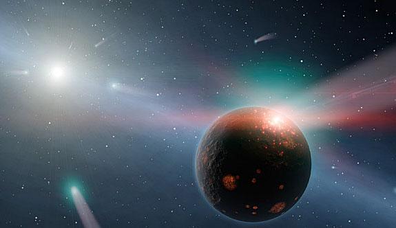 Художественное изображение тяжелой кометной бомбардировки