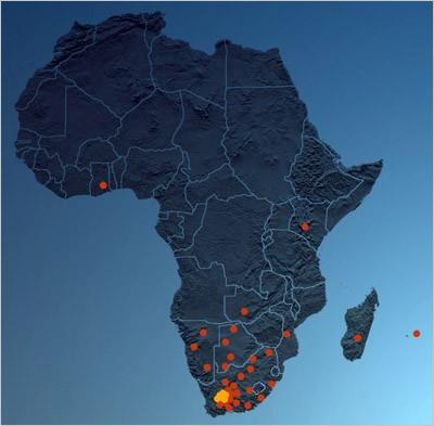 Планируемые места размещения SKA в Африке
