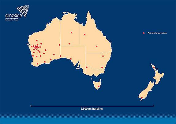 Планируемые места размещения SKA в Океании