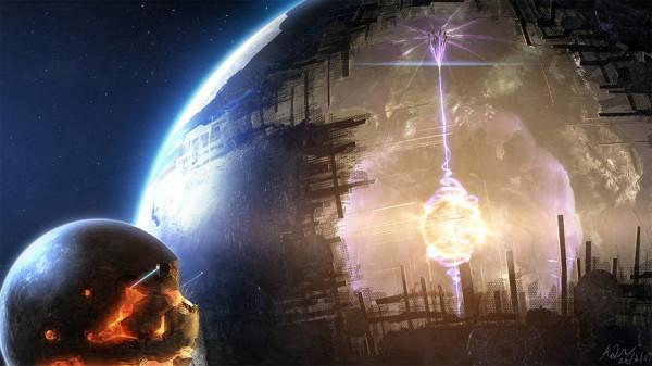 Художественное изображение строительства сферы Дайсона