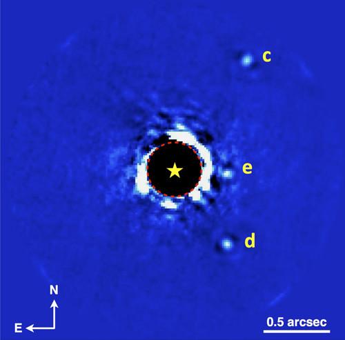 Снимок GPI системы HR 8799 на К-полосе