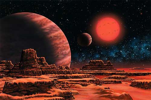 Художественное изображение системы Глизе 876