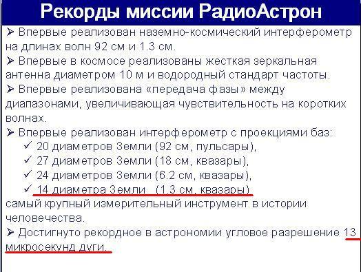Рекорды Радиоастрона 1