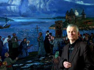 Д.П.Бучкин у своей картины Крестный ход в Старой Ладоге.