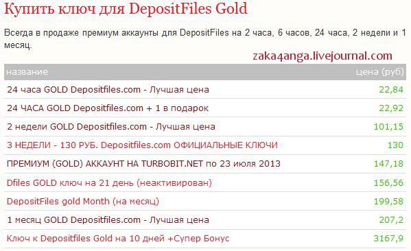 buy depositfiles gold