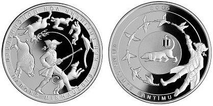1 серебряный лат с бароном мунхгаузеном монета орел ру