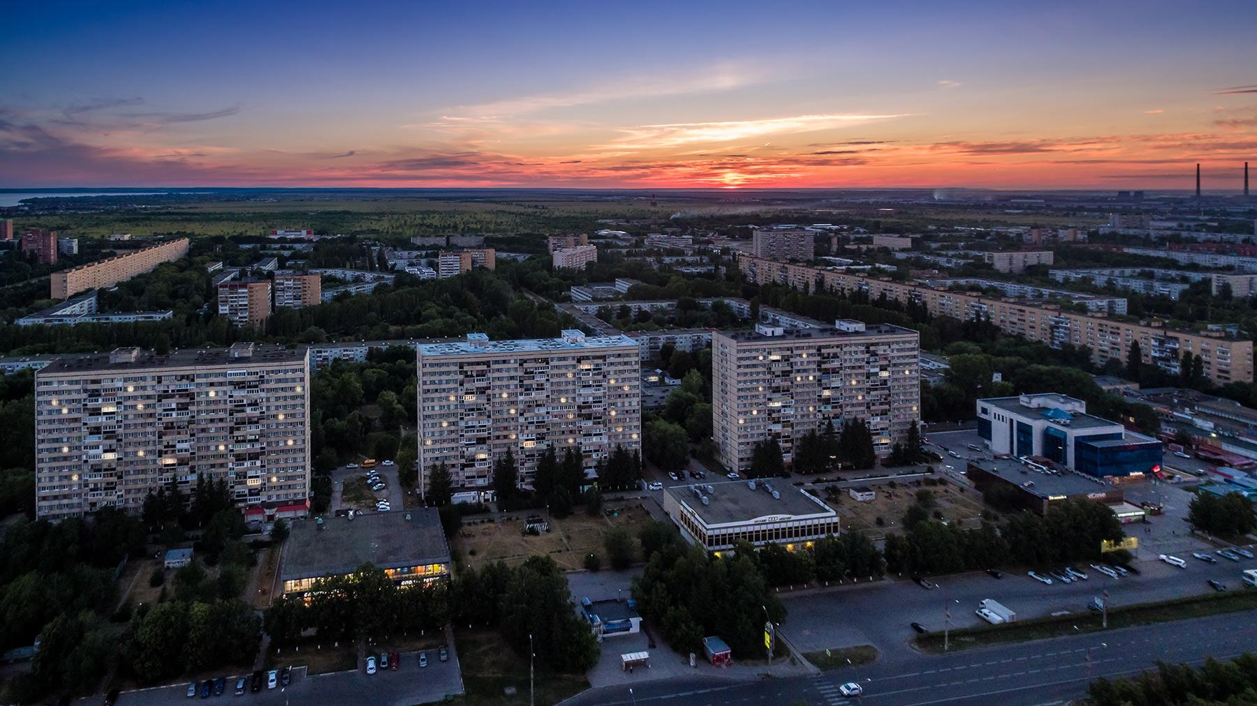 Вечерний Тольятти с высоты. Июль 2018.