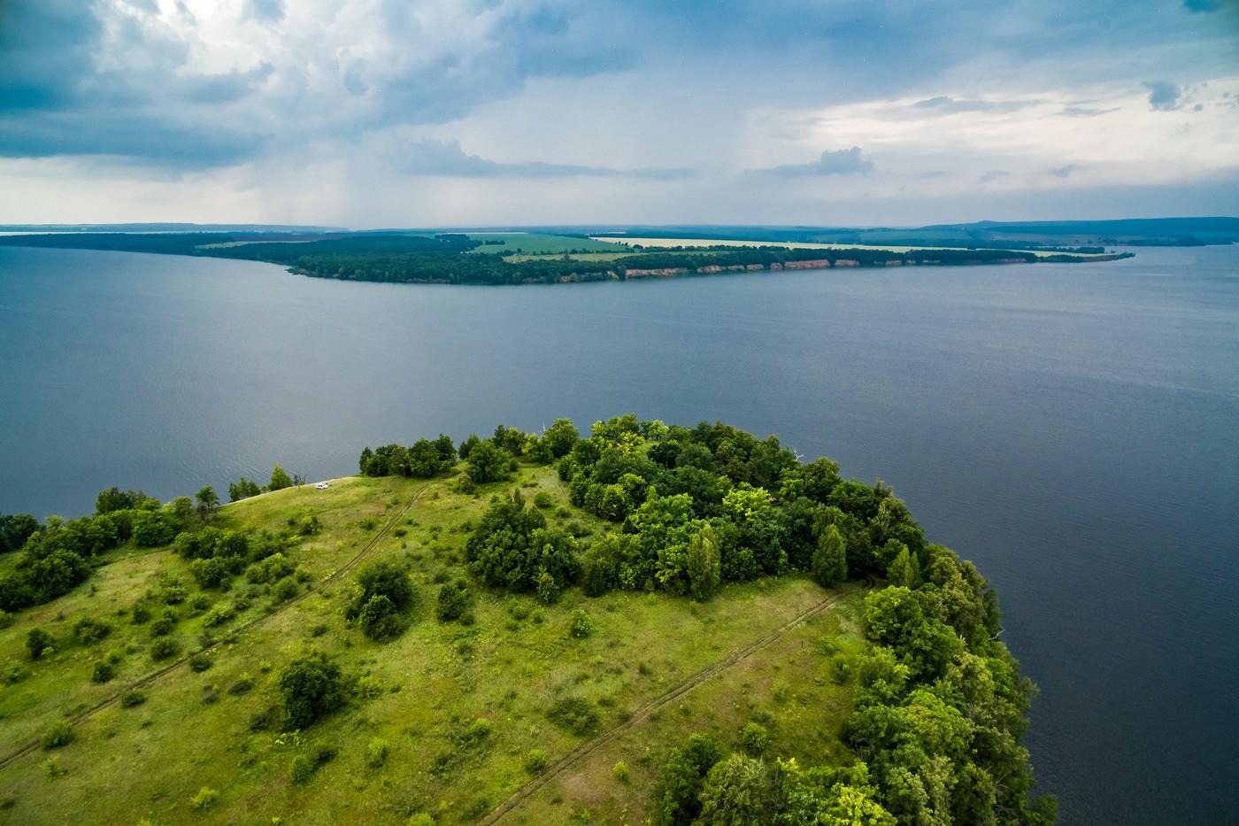 Богатырская слобода и река Уса с высоты. Июль 2018. фото