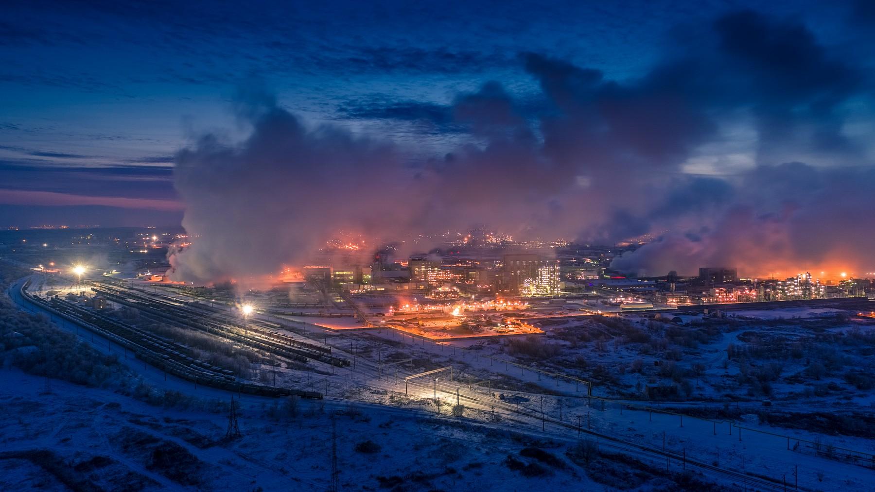 Вечерний Тольятти зимой с высоты. Декабрь 2018. Часть 2 - Комсомольский и Центральный район.