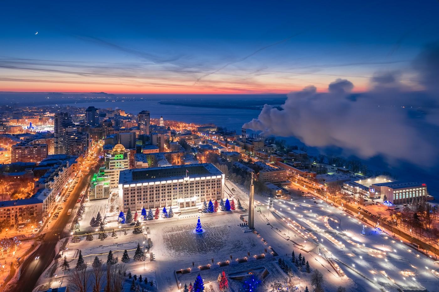 Зимняя Самара с высоты. Январь 2019.