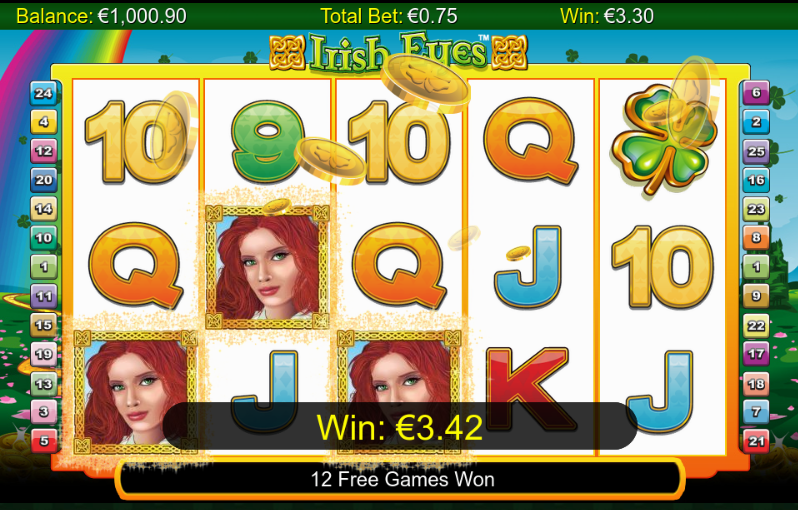 irish eyes 12 free games won