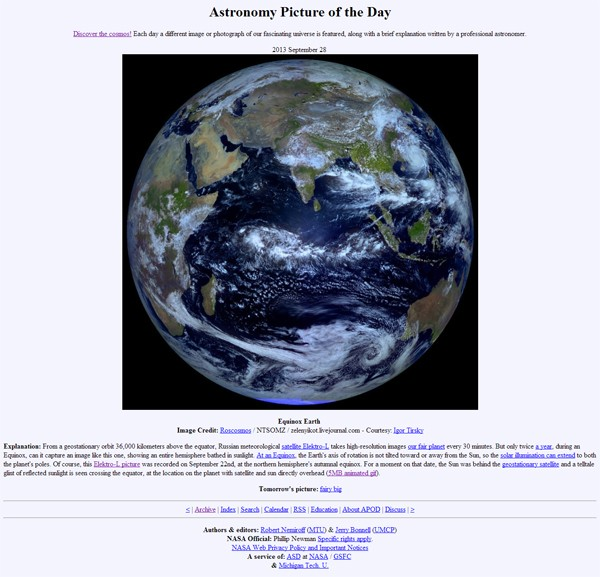 APOD  2013 September 28   Equinox Earth