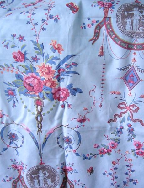 rococo print blue fabric