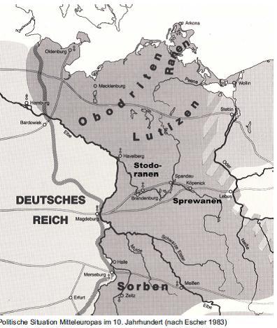 Карта западных славян