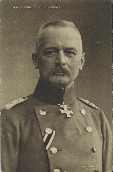 Erich von Falkenhayn, Brustbild-Ausschnitt eines größeren Fotos von Albert Meyer, vergleiche Postkarte vom Bundesarchiv