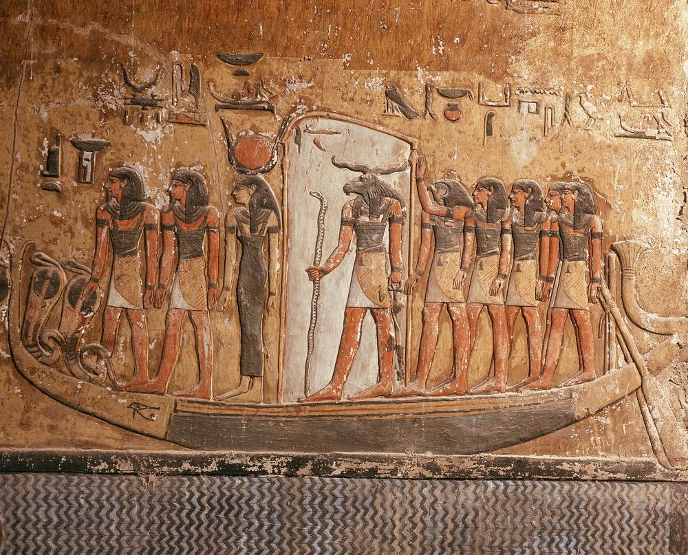 Fresco__Boat_Carrying_Osiris_on_the_River_of_the_Netherworld_Figurative_art_Funerary_art_Representational_art_Rivers_Boat_Carrying_Osiris_on_the_Riv_b