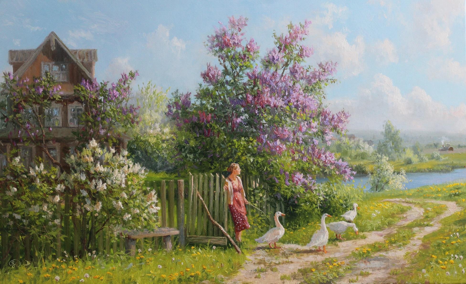 деревенский пейзаж с цветущими садами фото материалы для отделки