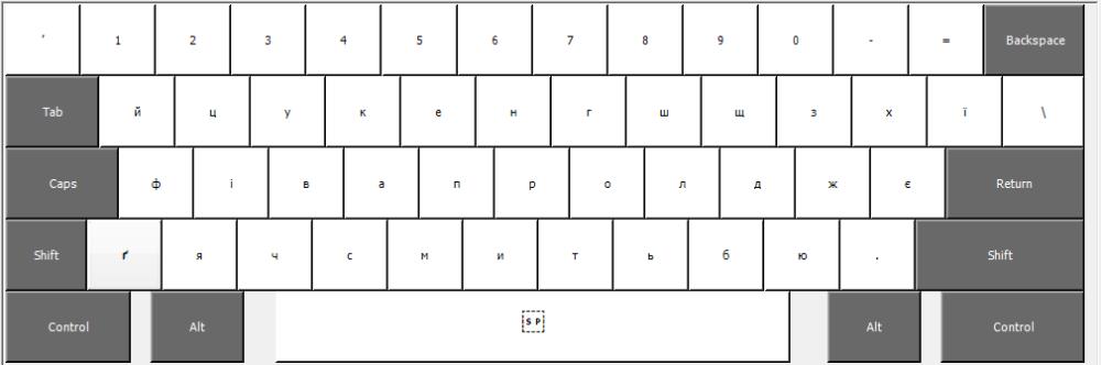 Розкладка без натиснених клавіш