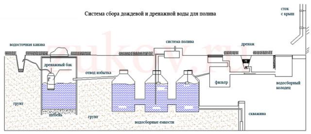 система полива на основе ливневых вод