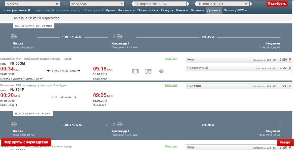 Покупка билетов на поезд в Крым
