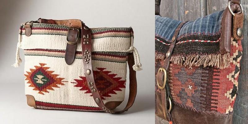c43e890d938c слева: сумка с сайта sundancecatalog.com с тканью с этническим орнаментом  индейцев Навахо; справа: сумка хендмейд со вставками ткани с этническим  орнаментом ...
