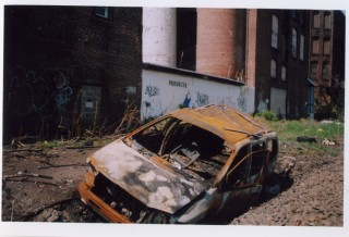 burned minivan