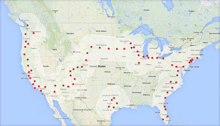 Суперзарядки Tesla 29 января 2014 г.