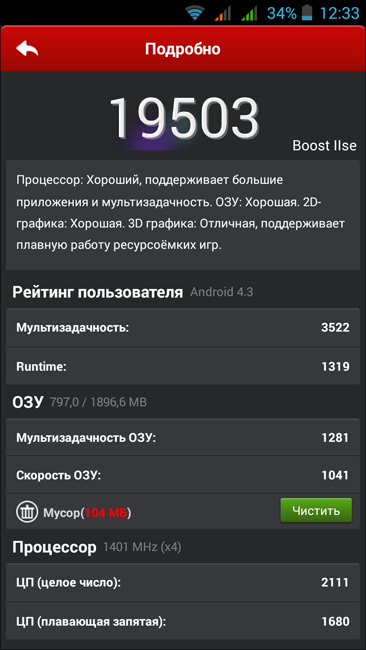 подробные результаты теста Highscreen Boost 2 SE с помощью AnTuTu Benchmark (фото zimaj)