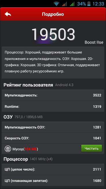 подробные результаты теста Highscreen Boost 2 SE с помощью AnTuTu Benchmark (фото zimaj)